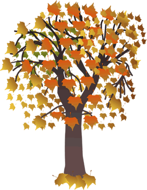 Picture of an Autumn tree with orange, yellow, and green leaves